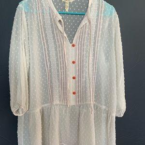 NWOT Matilda Jane sheer women's top orange thread